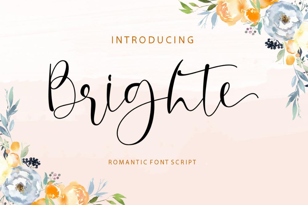 Brighte Romantic fonts, New fonts, Script
