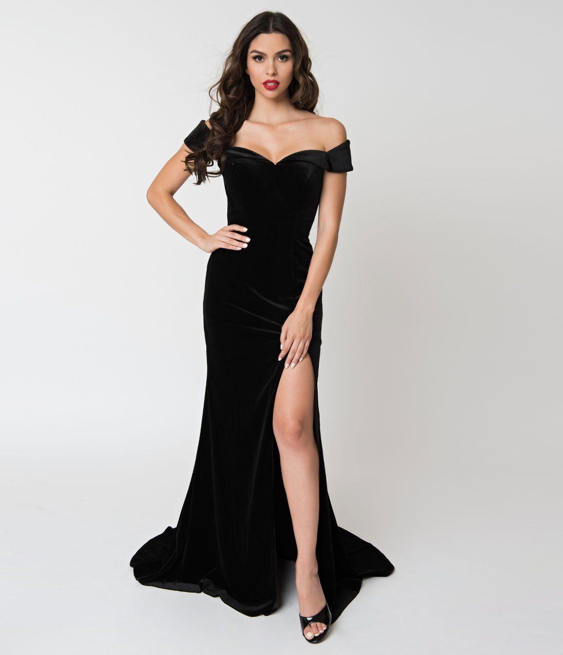 Off Shoulder Neckline Cap Sleeve Gown