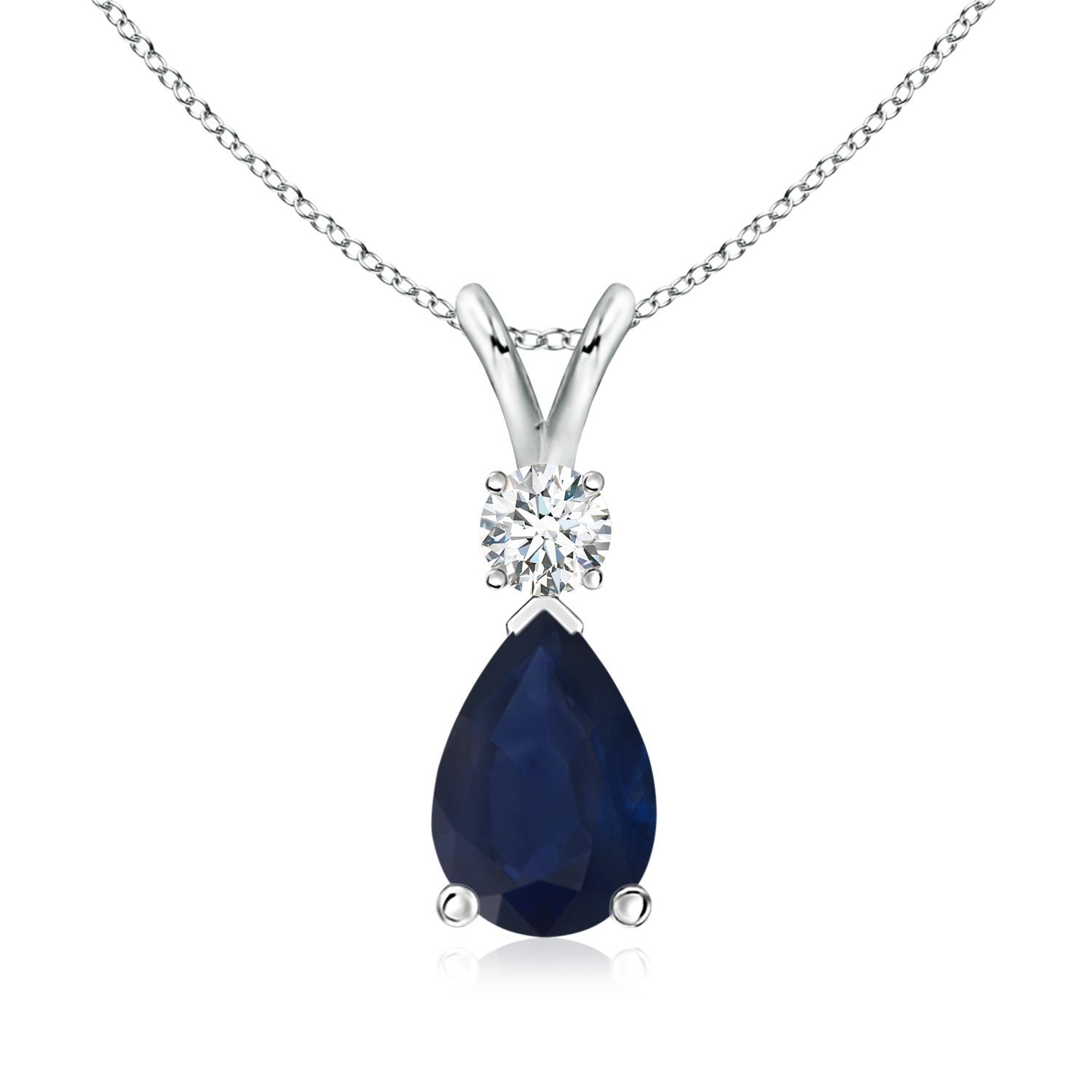 Angara Solitaire Pear-Shaped Blue Sapphire Flame Pendant ygX25TSe