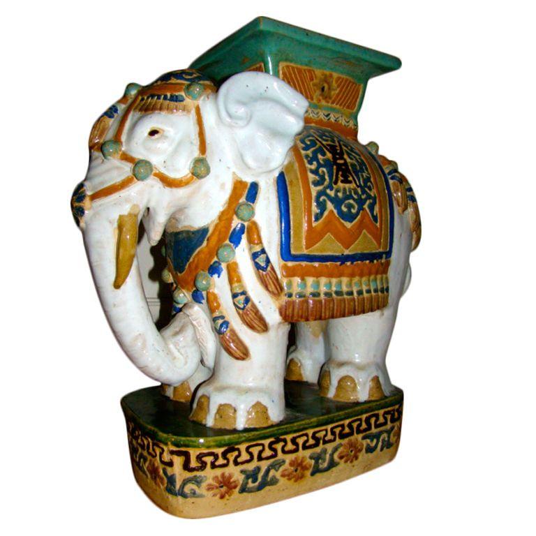 1stdibs   Hand Painted U0026 Glazed Majolica Elephant Garden Table Stool