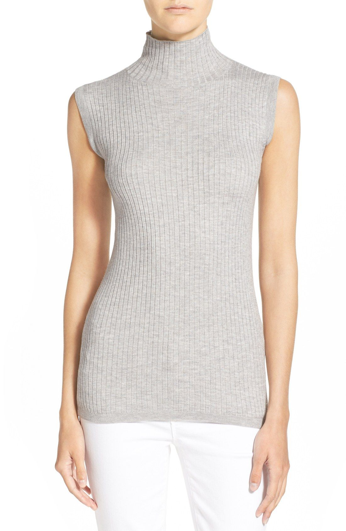 87df72fdfdf4c Vince Skinny Rib Sleeveless Turtleneck Sweater