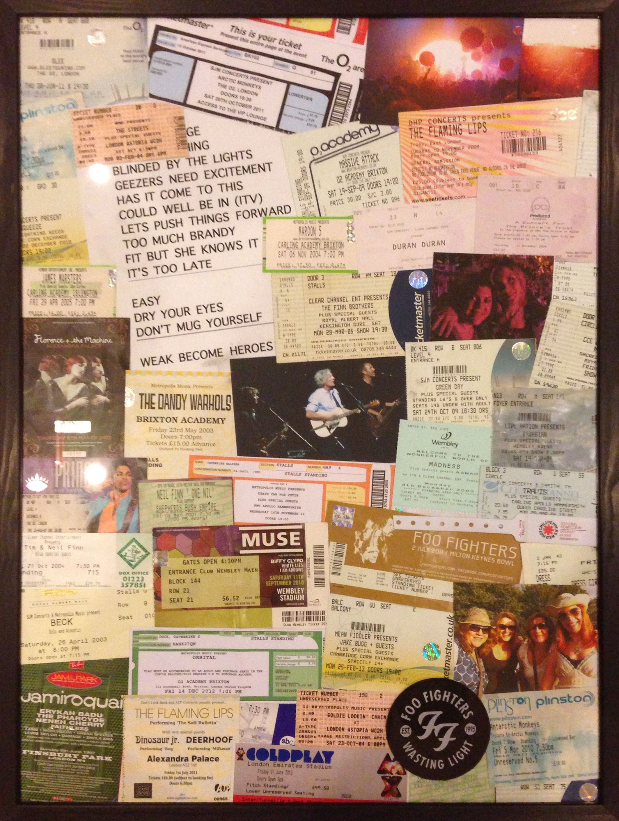 This is part one of a two-part project to display most of my concert tickets over 25 years of going to gigs (I started reasonably young ;)). I love that I'm the only person in the world who been to these exact gigs - it's the story of my adolescent and adult life.