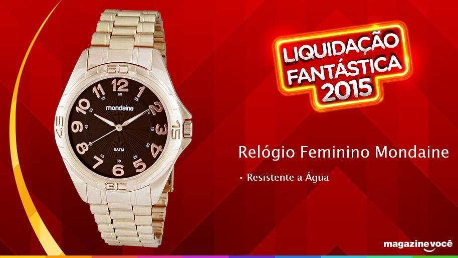 Liquidação fantástica 2015 - Relógio Feminino Mondaine.  Visite nossa loja Magazine Dufrom no site: www.magazinevoce.com.br/magazinedufrom/ E-mail: engefrom@uol.com.br | MAGAZINE DUFROM, todos os dias com ofertas incríveis para voce.