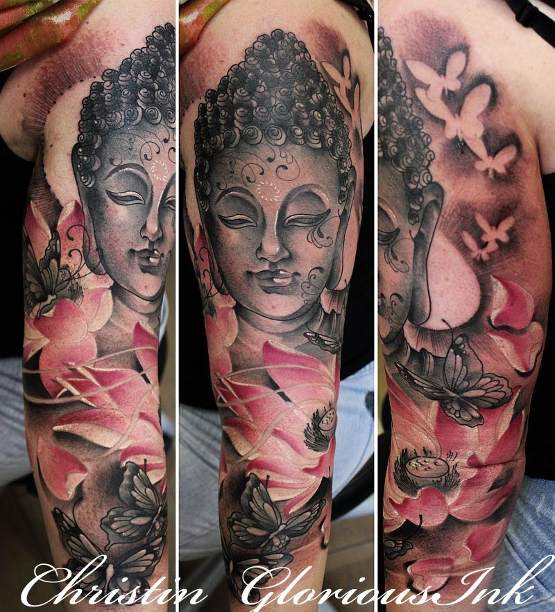 glorious ink tattoo berlin buddha w pink lotus. Black Bedroom Furniture Sets. Home Design Ideas