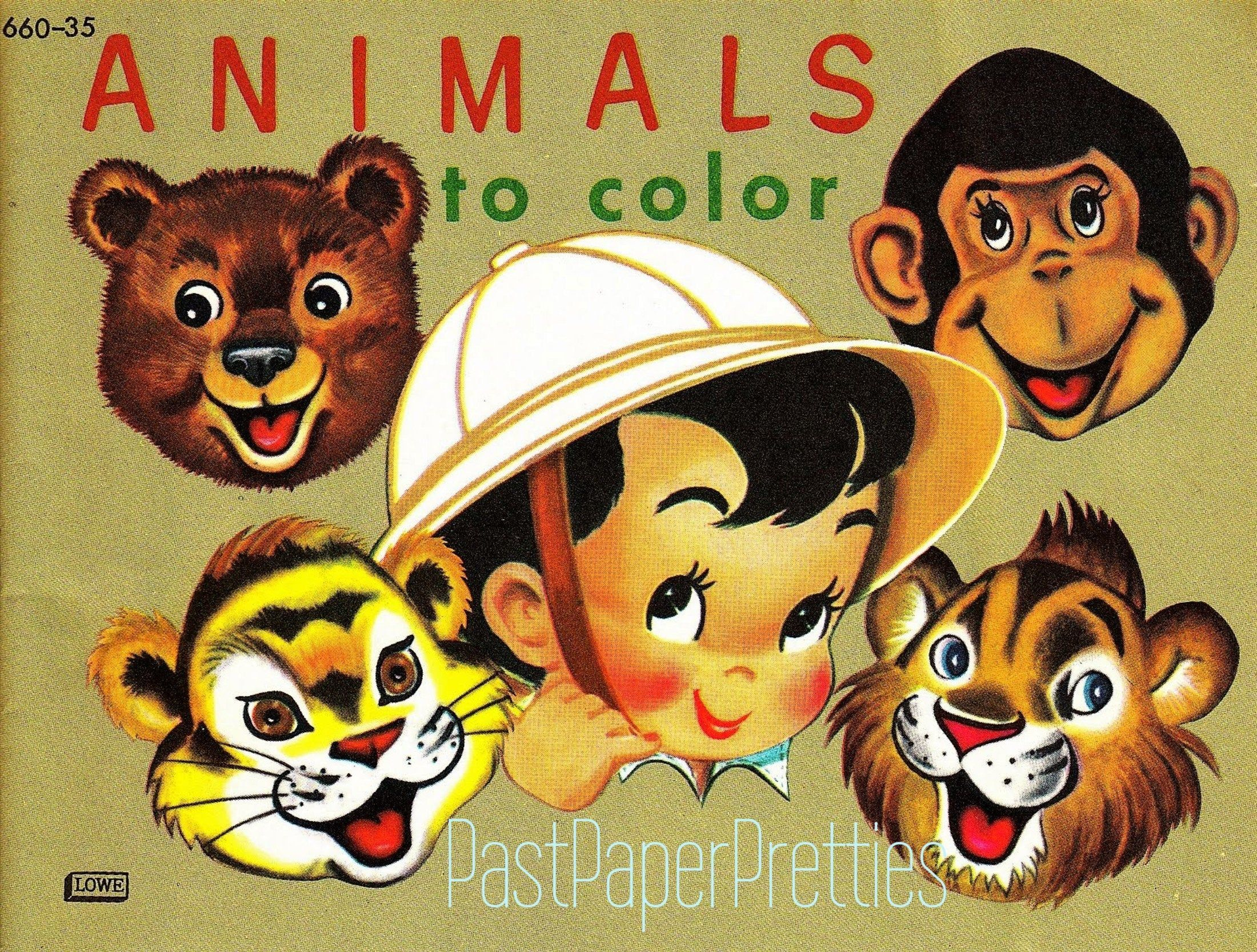 Vintage Printable Coloring Book Pages Animals To Color 1950s Etsy Printable Coloring Book Coloring Books Animal Coloring Pages