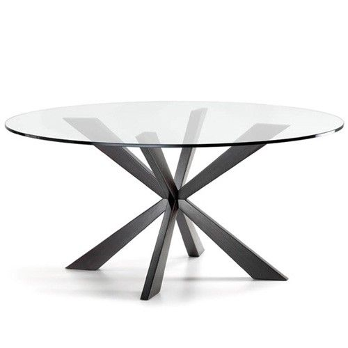 Spyder Round Dining Table 55 Inch Glass Round Dining Table