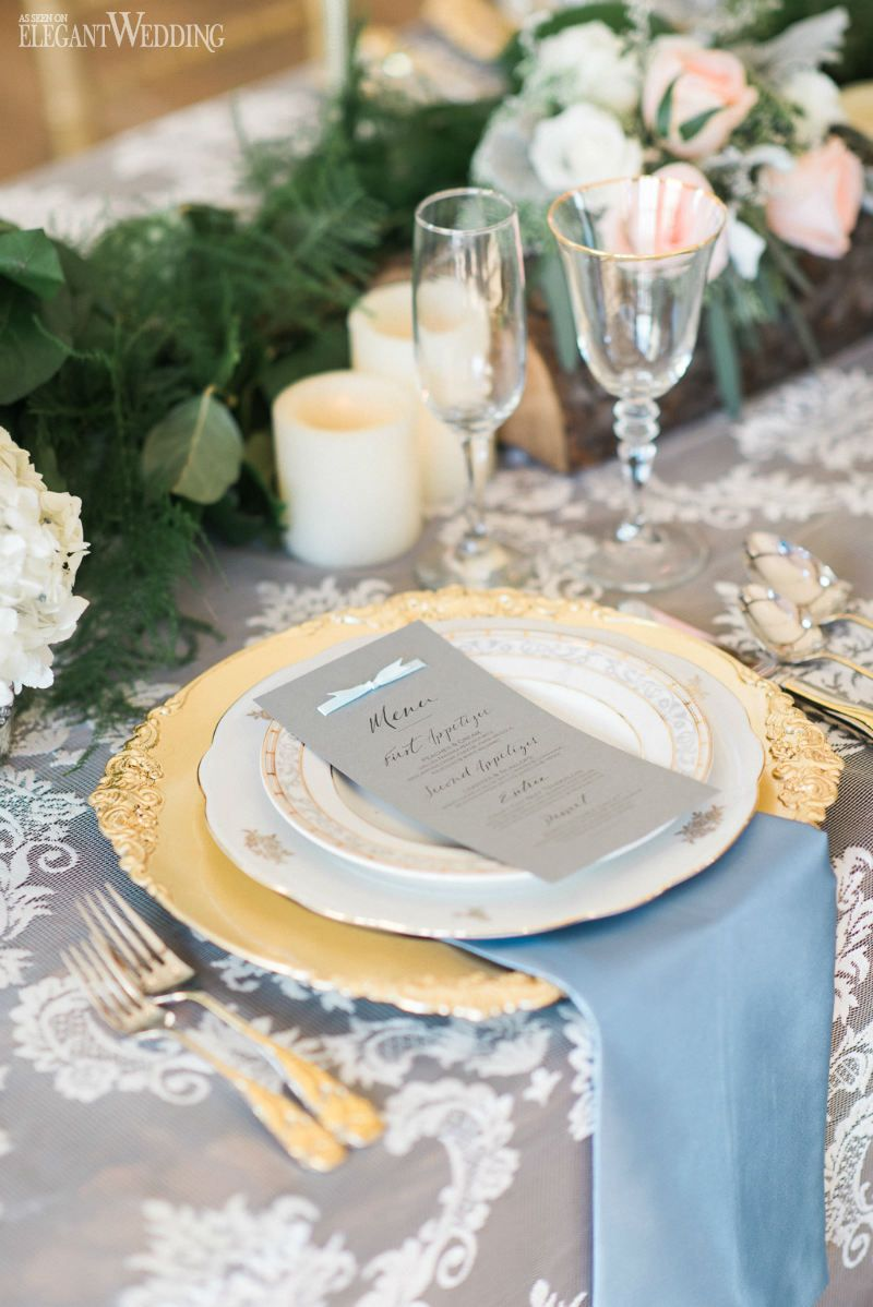 Rose quartz and serenity wedding table setting, place setting, gold ...