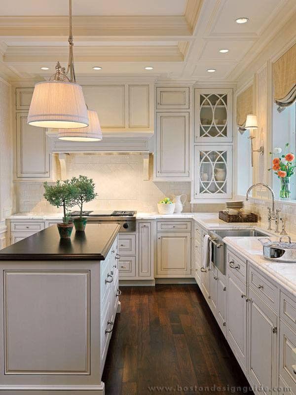 Light Sconces By Sink White Cabinets Dark Floors Kitchen