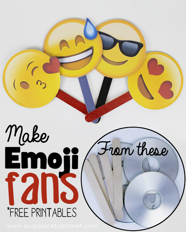 Free Emoji Fan Printables Our Peaceful Planet Free Emoji Emoji Birthday Party Emoji Craft