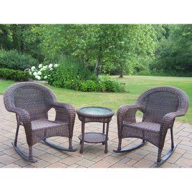 Oakland Living 3 Piece Resin Wicker Brown All Weather Patio Conversation Set