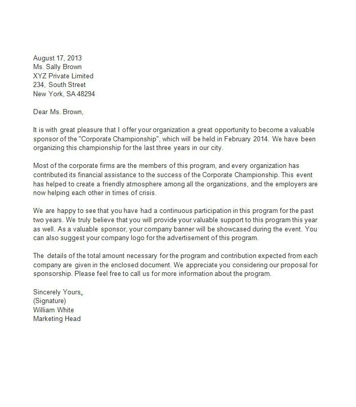 Sponsorship Letter Template 08 | business time | Pinterest | Letter ...