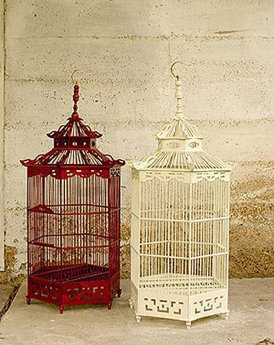 red and white bird cage