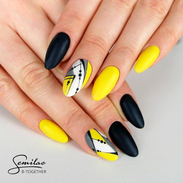 Black And Yellow Nail Art Fun For Summer Nails In 2019 Yellow
