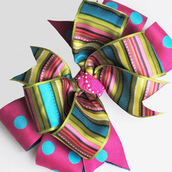 Double Polka Dot Stripe Boutique Bow - Satin Ribbon in Pink, Turquoise, Green - Girls Hair Accessory