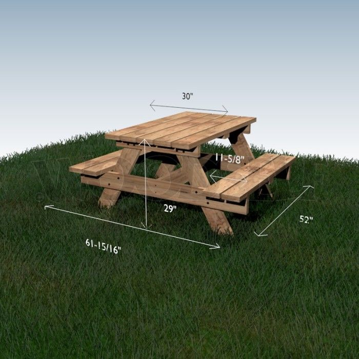 Table à pique-nique - plan du meuble | Plans De Table | Pinterest ...
