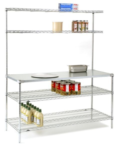 Danver Commercial Mobile Kitchen Carts: Metro Prep Table With Solid Stainless Steel Work Surface