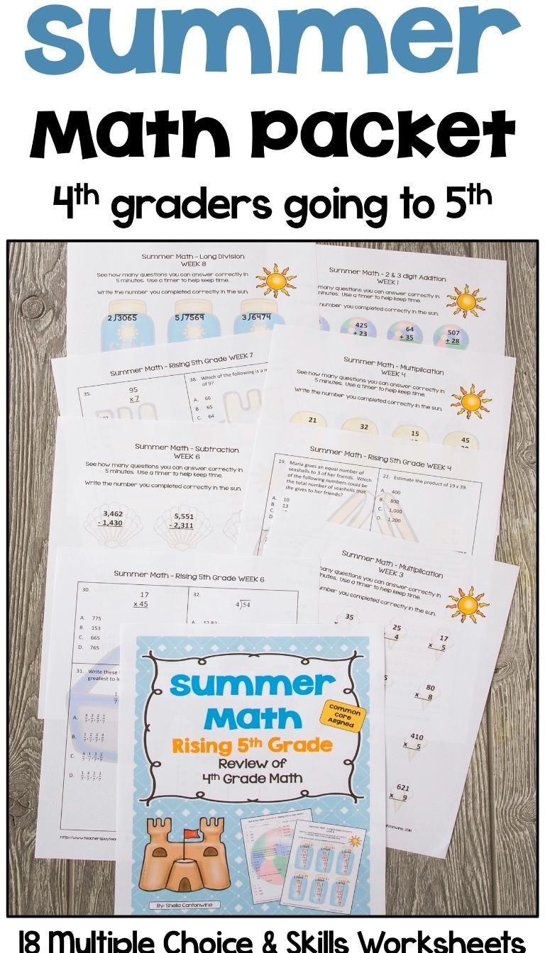Summer Math Packet For Rising 5th Graders Review Of 4th Grade Math Video Video Summer Math Packet Summer Math Math Packets [ 1344 x 768 Pixel ]