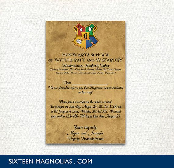 Inspired by the Hogwarts acceptance letter, this invite will - baby shower invitation letter