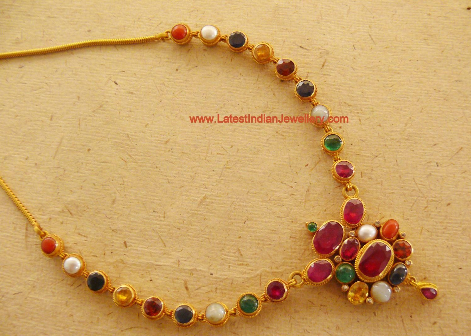 Gorgeous Navaratna Gold Necklace Antic Jewelleryindian Jewellery Designtemple