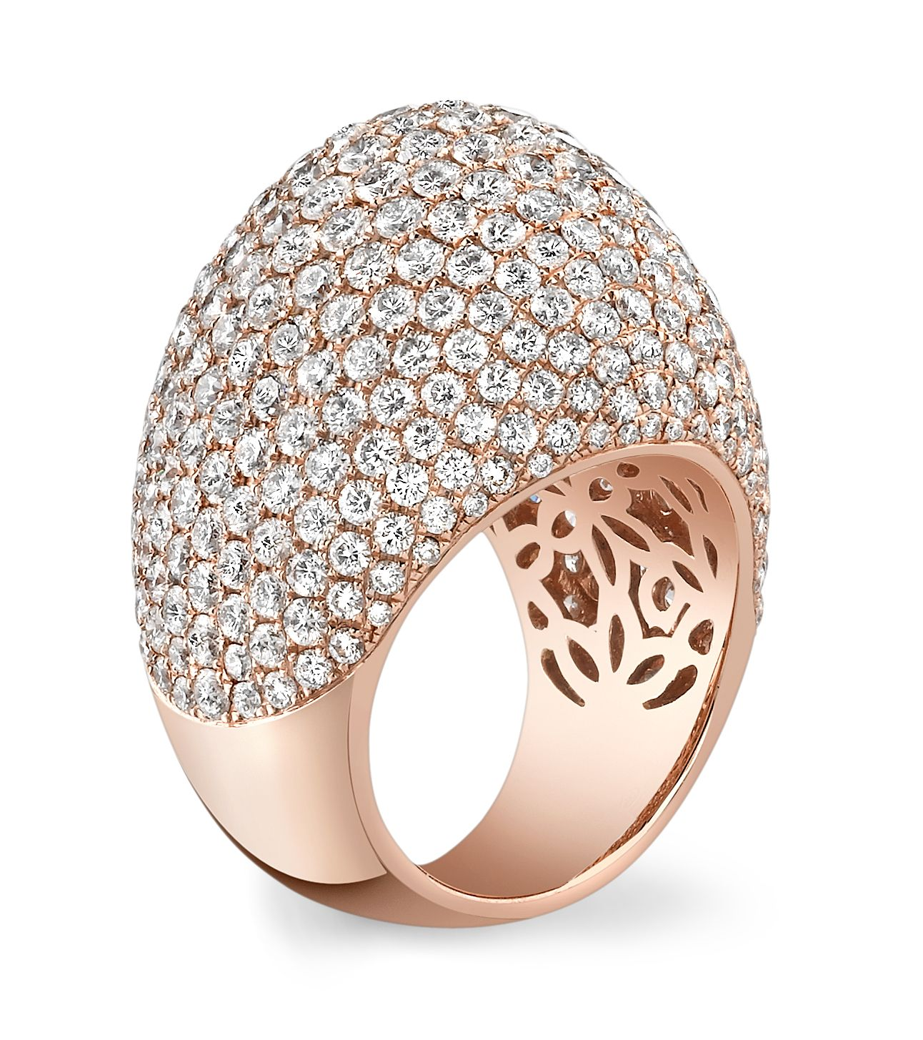 rose gold and diamond dome ring