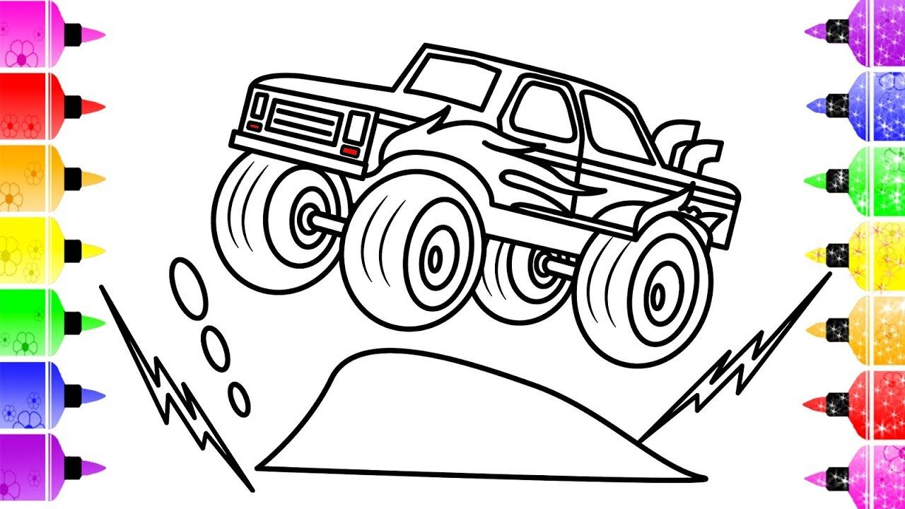 How To Draw A Monster Truck For Kids Learn Colors Monster Truck