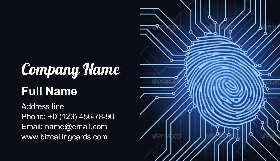 Fingerprint Electronics Business Card Template Business Card Template Card Template Cards