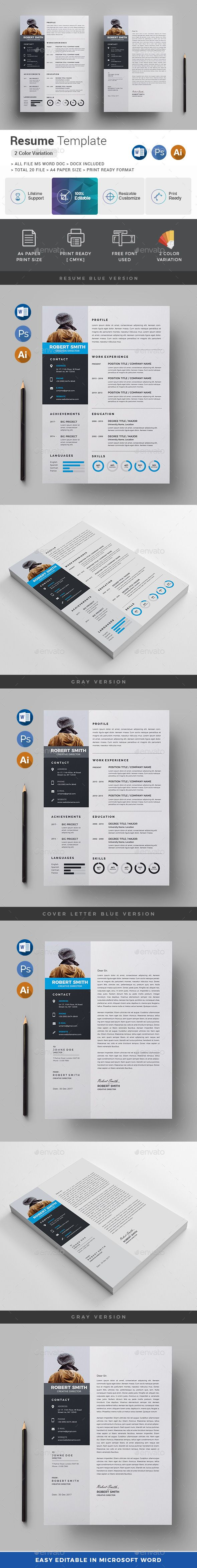 Resume Features Of Resume Template Color Versions A4 Paper Size With