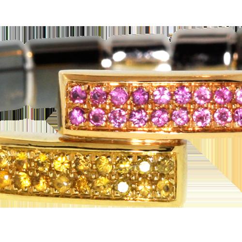 *Pulsera de Oro Negro  18k blanco y oro amarillo y pulsera de oro negro con diamante amarillo veneciano y zafiro rosa