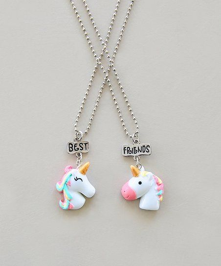 Whitney Elizabeth Pink White Unicorn Best Friends Pendant Necklace