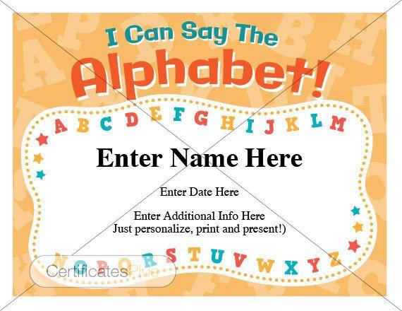 Kid Certificate AbcS Certificate Child Certificate Alphabet