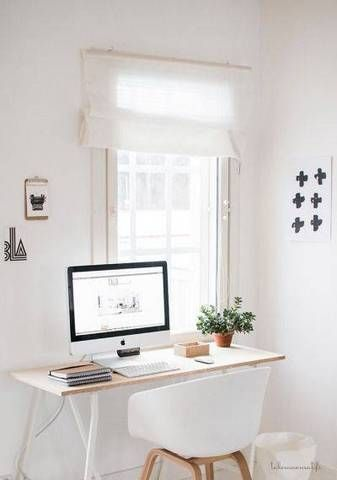 White airy home office Scandinavian Light And Airy Home Office Space Batteryuscom Spacesaving Desks For Tiny Home Offices Workspace Pinterest