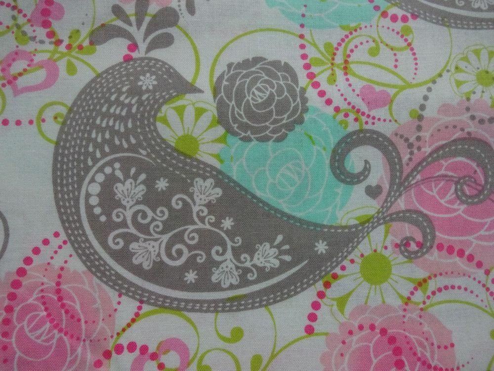 Spa Mint Pink Paisley Patty Reed 100/% Cotton Fabric BTY Half Yard t3//10