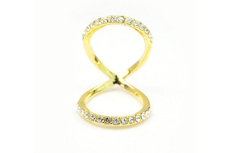 Double Loop Crystal Ring