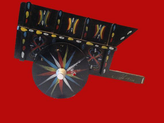 Boho Decor Napkin Holder Wooden Cart Costa Rica Souvenir