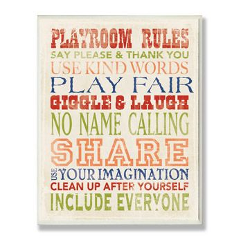 Playroom Rules Wall Plaque