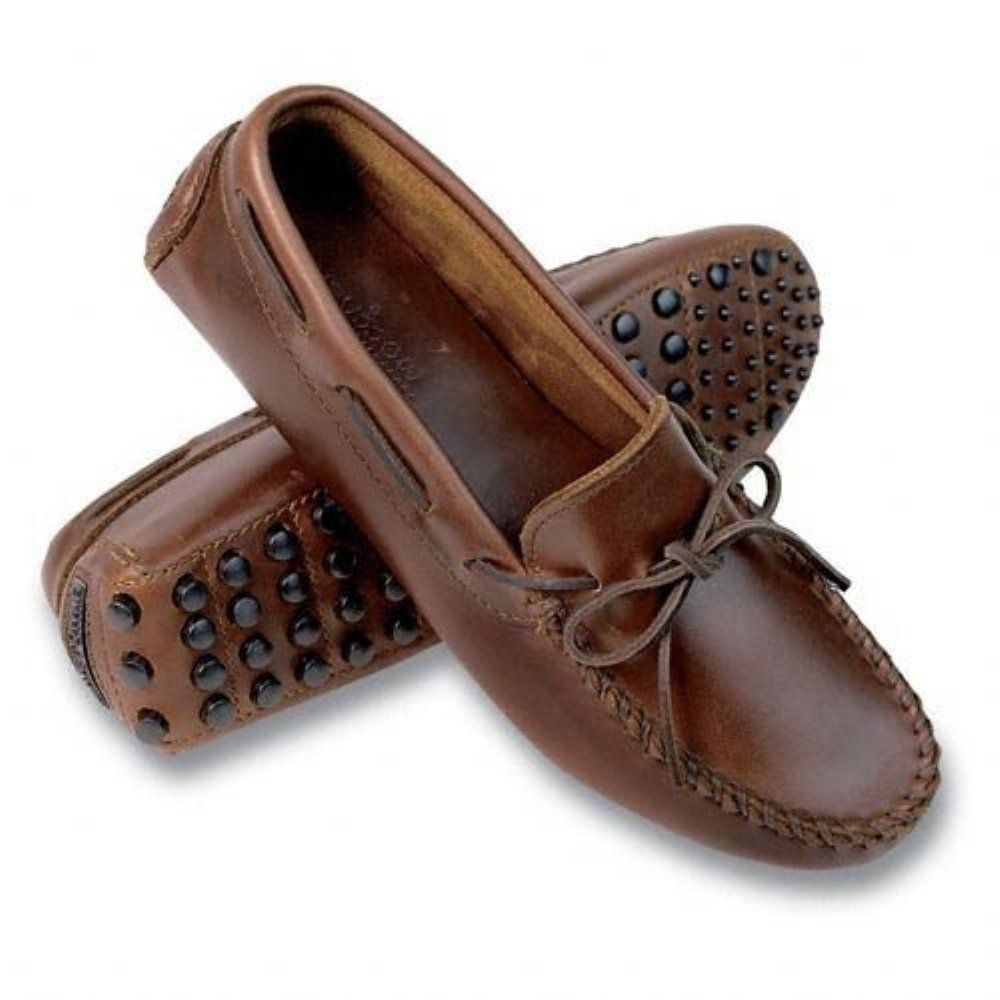 Men's Drving Moccasins Leather Loafers Cap-Toe Shoes