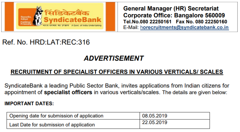 Syndicate Bank Recruitment 2019 Apply Online for 14