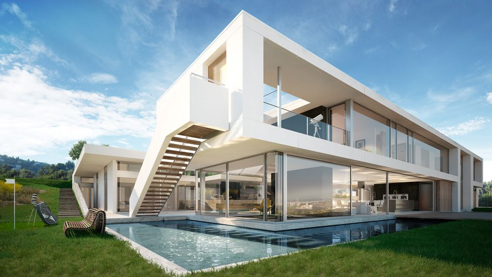 Architectural visualization of a luxury house in palos for Minimal house artists