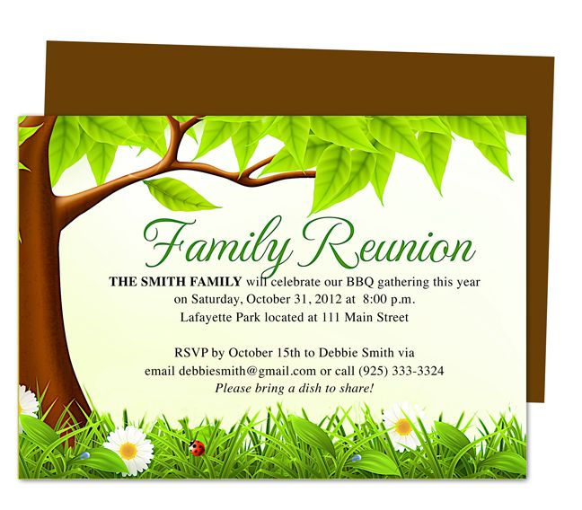 Family Tree Reunion Party Invitations Templates Invitation - family reunion letter templates
