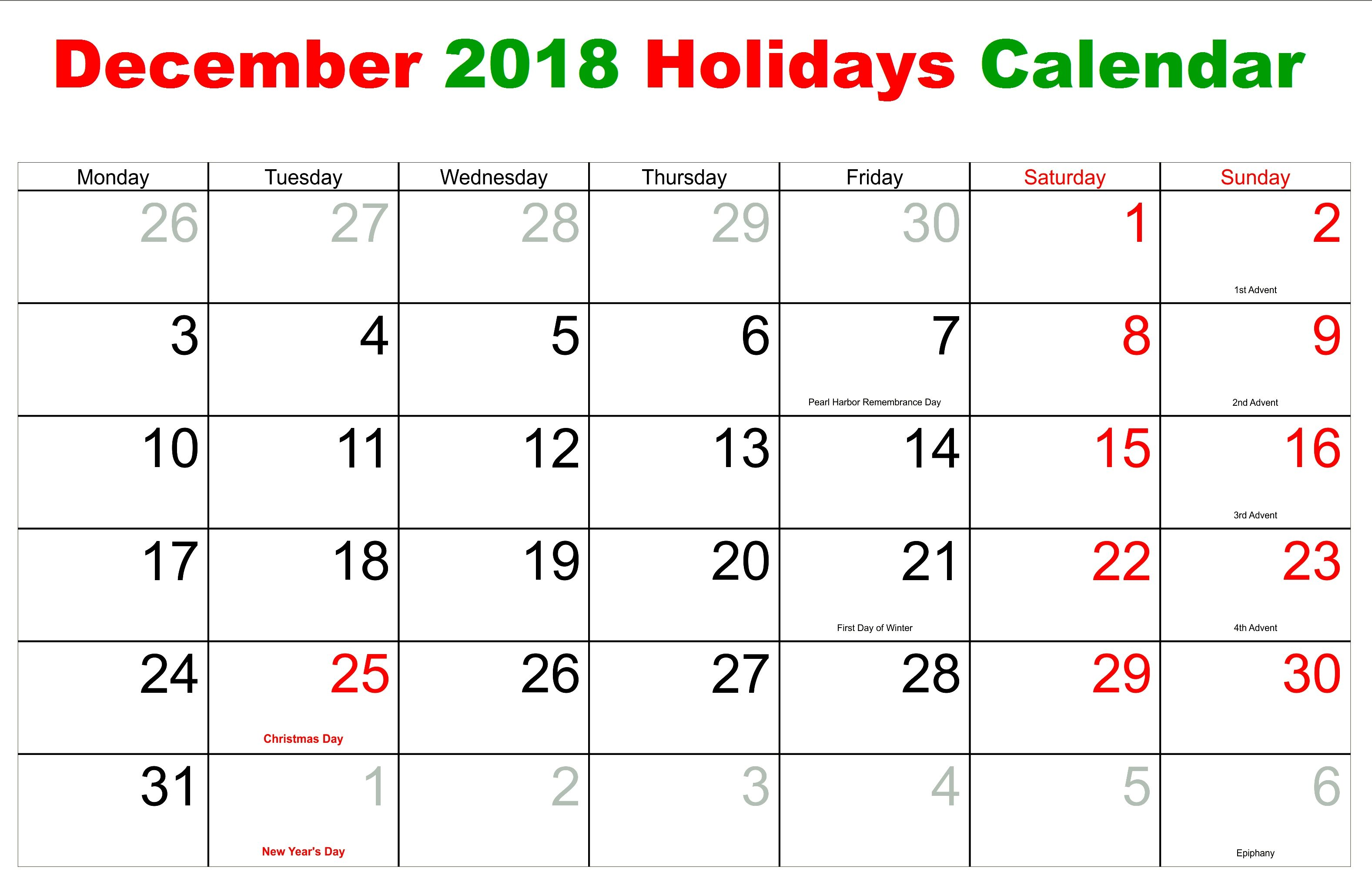 Printable December 2018 Calendar With Holidays Printable