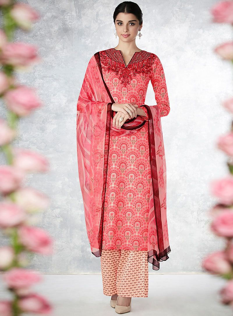 Giselli Monteiro Peach Cotton Palazzo Style Suit 88280 Designer Salwar Suits Fashion Clothes Collection