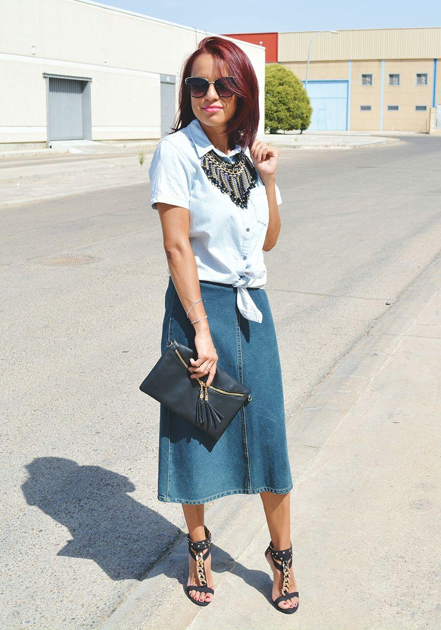 620131b6e Cómo combinar una falda vaquera midi | Gabriela de Gabby SweetStyle ...