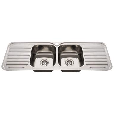 Everhard 1380mm Nugleam Double Bowl Kitchen Sink With Double Drainer Double Bowl Kitchen Sink Kitchen Sink Stainless Sink