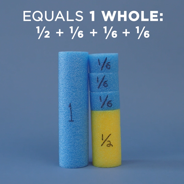 Teach students about fractions using the power of pool noodles. #WeAreTeachers #TeachingMath #Fractions #Teacher #Teachers #Education #MathTeacher