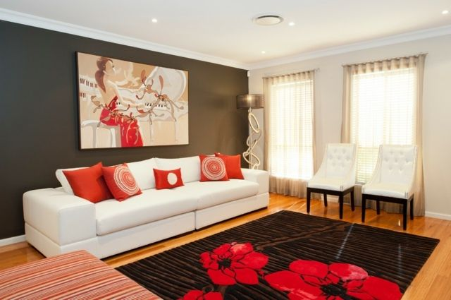 Wohnzimmer Wandfarbe Grau Rote Farbakzente