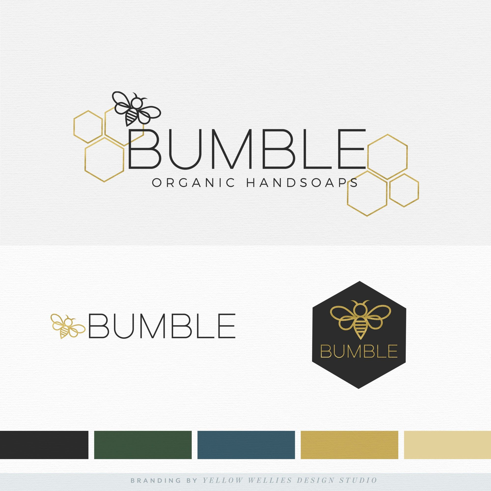 Premade Logo Design Bumble Bee Honey Comb Modern