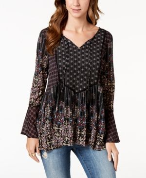 345083000b9 Style & Co Printed Babydoll Peasant Top, Created for Macy's - Black XXL