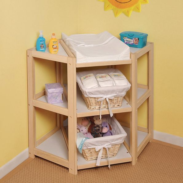 Corner Changing Table Natural Wood Space Saver Open Storage Non Toxic  Finish #BadgerBasket