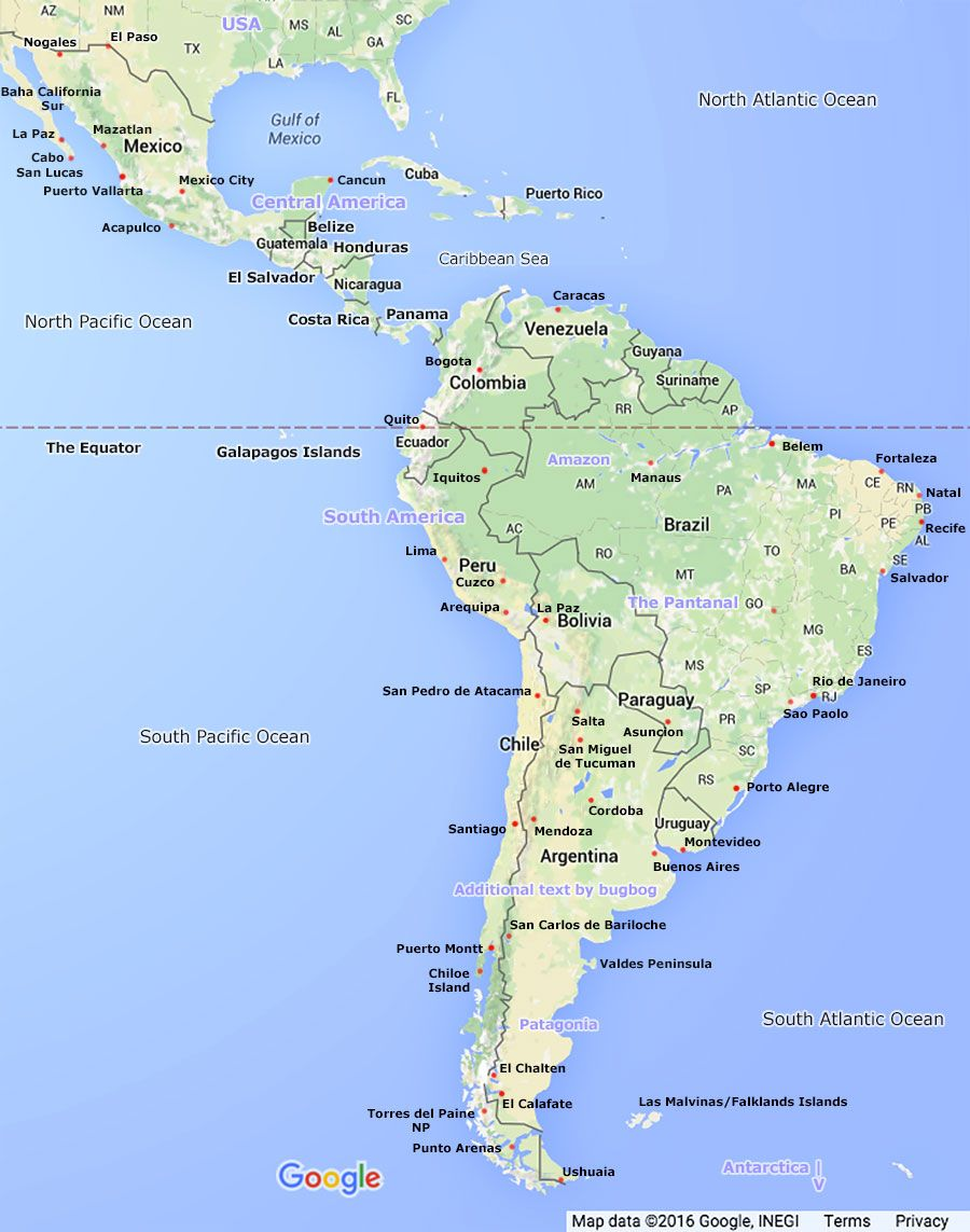 South America Map Including Central Links To Country Maps And East ...