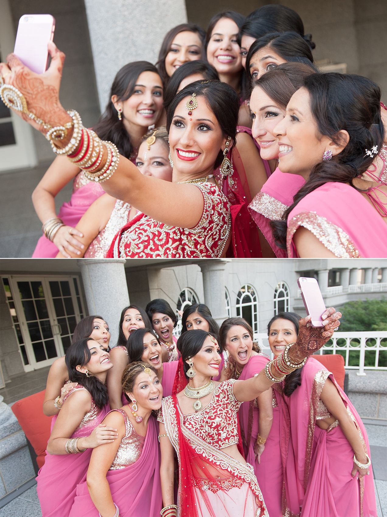 Indian Wedding Bridal Party Selfie Bridesmaids Atlanta Garrett Frandsen